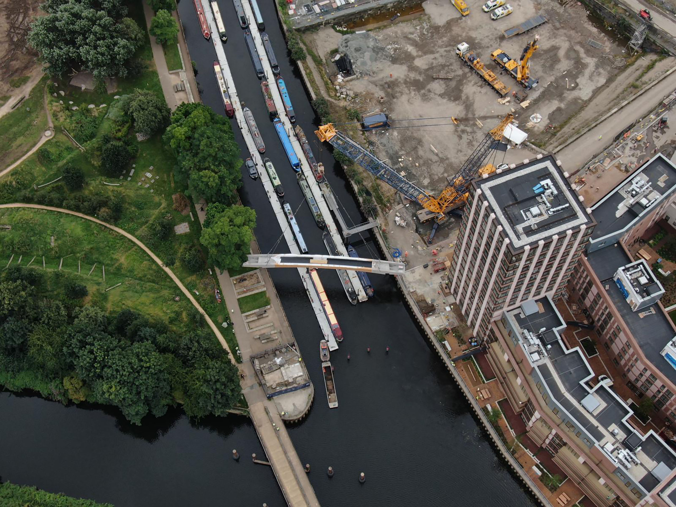 Bridge install by crane